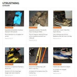 Flera utrustningsartiklar och recensioner upplagda