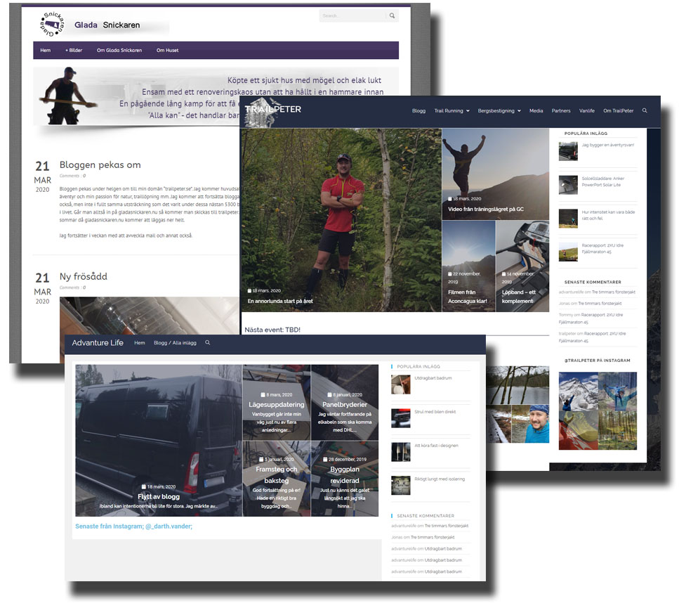 Tre bloggar/siter blir en
